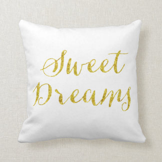 Sweet Dreams Quote Gold Faux Glitter Metallic Throw Pillow