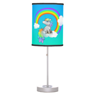 Sweet Dreams Rainbow Wish Unicorn Customizable Table Lamp