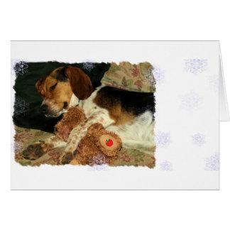 Sweet Dreams Sleepy Snoopy Beagle with Teddy Bear Card