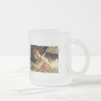 Sweet Dreams, Snoopy Beagle Puppy with Teddy Bear Frosted Glass Coffee Mug