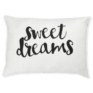 Sweet Dreams Typography Script Pet Bed Large Dog Bed