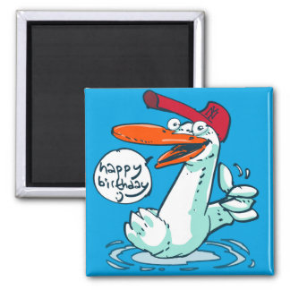sweet duck birthday message cartoon magnet