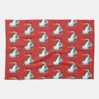sweet duck on the lake cartoon kitchen towel
