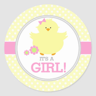 Sweet Ducky Its a Girl Classic Round Sticker
