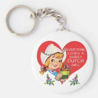 Sweet Dutch Girl Vintage Tulips Meisje & Heart Keychain