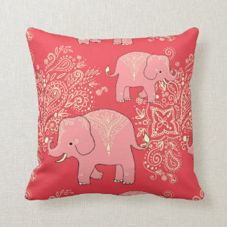 Sweet elephants pillow coral and vanilla
