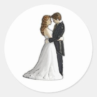 Sweet Embrace Wedding Invitations Envelope Seals Round Sticker