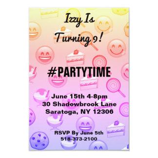 Sweet Emoji Treats Birthday Party Invitations