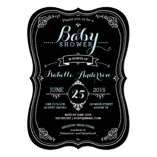 Sweet Fancy Chalkboard Boy Baby Shower Card