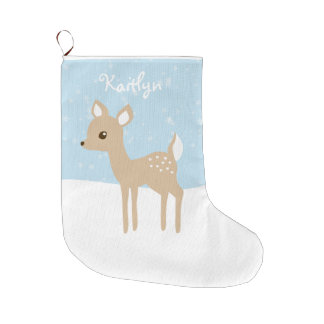 Sweet Fawn Winter Scene Large Christmas Stocking