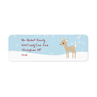 Sweet Fawn Winter Scene Return Address Label