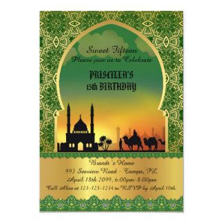 "Sweet Fifteen, birthday, invitation, Arabian night 5"" X 7"" Invitation Card"