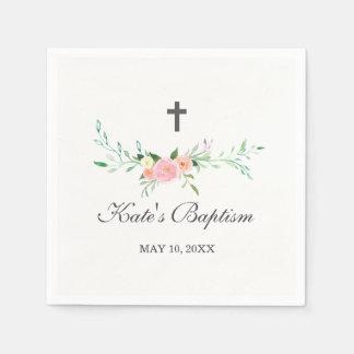 Sweet Floral Baptism Napkin Paper Napkin