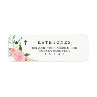 Sweet Floral Baptism Return Address Label
