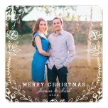 """Sweet Floral Holiday Photo Card 5.25"""" Square Invitation Card"""