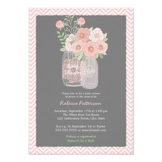 Sweet Floral Mason Jar Pink Baby Shower Invitation