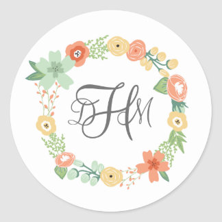 Sweet Floral Monogram Stickers