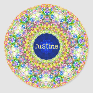 ~ Sweet Floral Pattern ~ Personalised JUSTINE ~ Classic Round Sticker