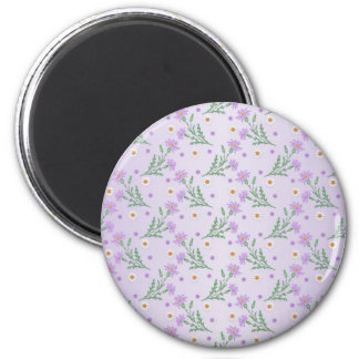 Sweet Floral Pattern Purple and Lavender Magnet