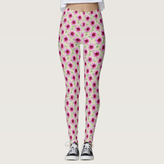Sweet Floral Pink Garden Flower Pattern Leggings