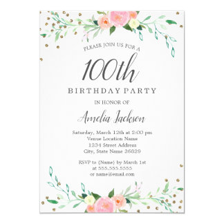 Sweet Floral Sparkle Confetti 100th Birthday Party Card