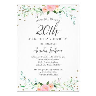 Sweet Floral Sparkle Confetti 20th Birthday Party Card