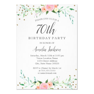 Sweet Floral Sparkle Confetti 70th Birthday Party Card
