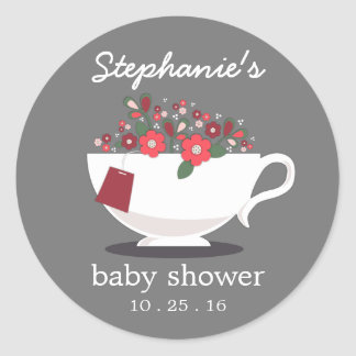 Sweet Floral Teacup Tea Party Baby Shower Classic Round Sticker