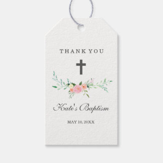 Sweet Floral Thank You Baptism Tags Pack Of Gift Tags