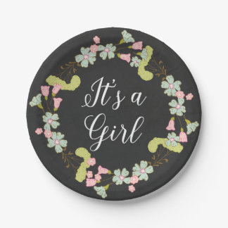 Sweet Floral Wreath | Baby Shower 7 Inch Paper Plate