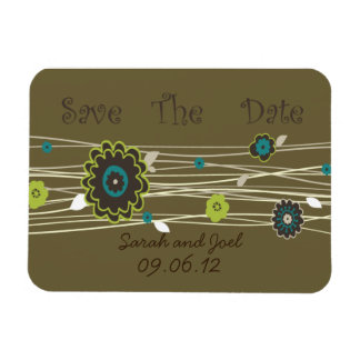Sweet Flower Save The Date Rectangular Photo Magnet