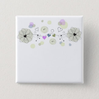 Sweet Flowers 2 Inch Square Button