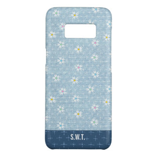 Sweet flowers on light blue denim look Case-Mate samsung galaxy s8 case