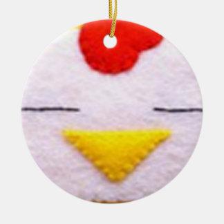Sweet fluffy chicken ceramic ornament