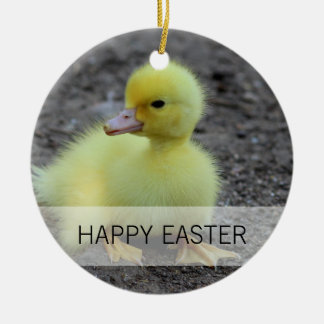 Sweet Fluffy Duckling Yellow Round Ceramic Ornament