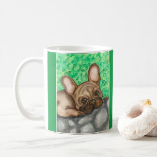 Sweet French Bulldog mug with green