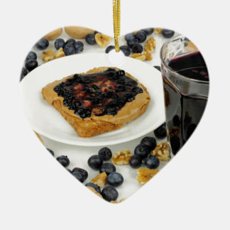 Sweet Fruit Nut Treats Ceramic Heart Ornament