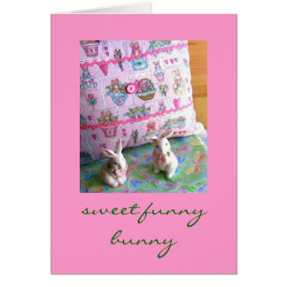 Sweet Funny Bunny Easter and Greeting Card