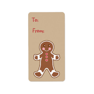 Sweet Gingerbread Boy Gift Tag Label