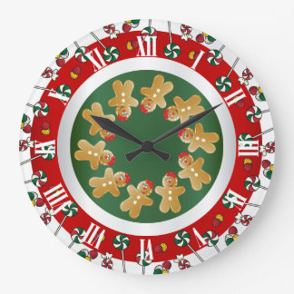 Sweet Gingerbread Christmas Large Clock