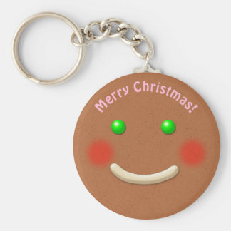 Sweet Gingerbread Cookie Cartoon Basic Round Button Keychain