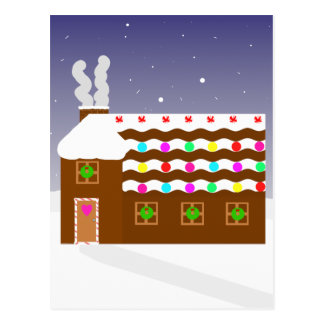 Sweet Gingerbread House ~ Winter Scene Postcard