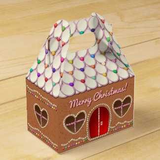Sweet Gingerbread House With Heart Shaped Windows Favor Box