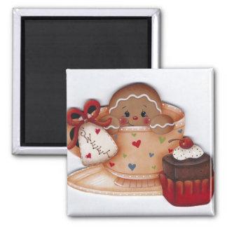 Sweet Gingerbread in Teacup Magnet