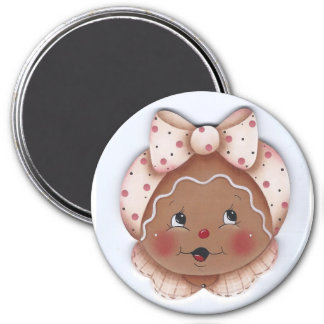 Sweet Gingerbread Miss in Pink Magnet