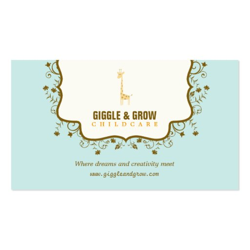 Sweet Giraffe Childcare /Boutique Business Card Business Card Templates