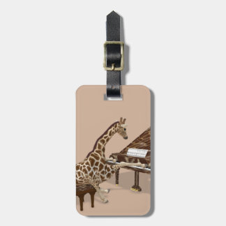 Sweet Giraffe Loves To Play Piano Luggage Tag