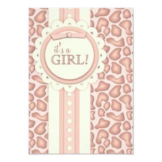 Sweet Giraffe Scrapbook Baby Shower Invite | Pink