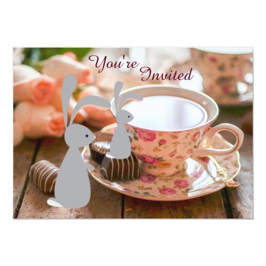 Sweet Girl Bunny Tea Cup Baby Shower Invitation