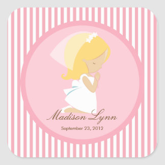 Sweet Girl First Holy Communion Sticker Pink